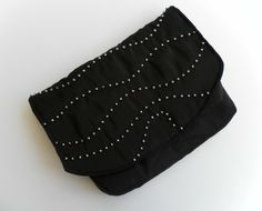 Beautiful Black Satin Clutch Bag with Silver Beading,Christmas Party, Evening,  £12.00