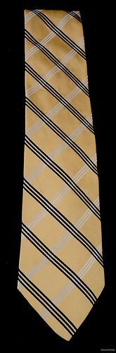 TOMMY HILFIGER Imported Silk Tie Yellow Navy White Diagonal Stripes