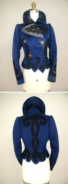 1895 -1905 Deep Royal Blue womans jacket: This double-breasted outer coat, c. 1900, is made of Melton wool that has been dyed deep royal blue. The outside of the coat is decorated with black cotton passementerie braid at the front lapels, around the collar edge, down center front, around the hem to the back. Center back has a large motif as well as do the lower edges of sleeve hems.