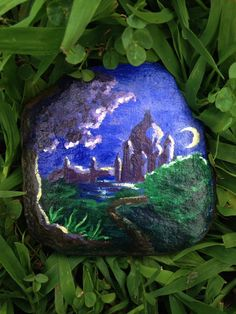 Rock Painting of Night Landscape