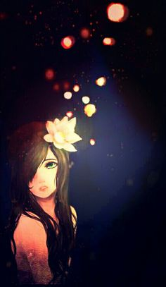 Bokeh Lights and Girl with Lily in her Hair Art.