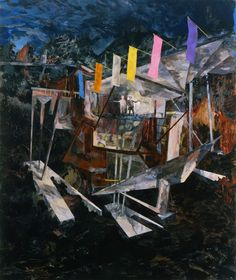"Hernan Bas, ""A landscape heard"" 2009 Acrylic on linen over panel, 6.0 feet x 60 inches / 183 x 152,5 cm"