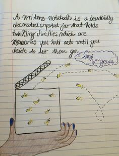"""One of four student metaphor """"winners"""" from our 2014 writer's notebook metaphor contest!  This one came from Kazi, one of Ms. Napoli's students, a great writing teacher from New York. Click image to see the assignment and learn about our annual notebook metaphor contest!"""