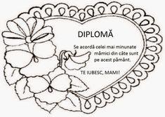 diplome 8 martie de colorat 8 Martie, 8th Of March, Candyland, Preschool, Romania, Kitchens, Parenting, Teacher, Rock