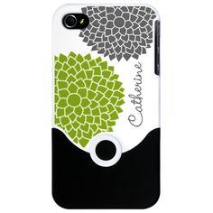 modern zen flowers green iPhone Case - Add your name