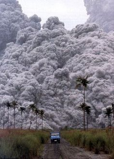 "Volcano Erupting  (Don't you just hate it when this happens to you?....There you are...driving down the road....minding your own business....when ""Boom!"" the volcano erupts right behind you!)"