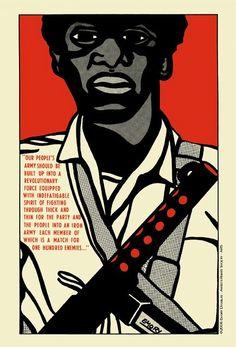 Cartaz propagandístico dos Black Panthers, onde são exaltados os princípios da auto-defesa e da luta armada por parte do proletariado negro.    by Emory Douglas