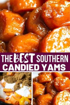The best southern candied yams ever! Candied yams is a old fashioned side dish that's slow cooked in a candied mixture on the stove-top with warm spices, sugar and butter. Best Candied Yams Recipe, Southern Candied Yams, Candied Sweet Potatoes, Candied Yams Easy, Paula Deen Candied Yams, Baked Sweet Potatoes, Sweet Potato Casserole, Veggie Dishes, Vegetable Recipes