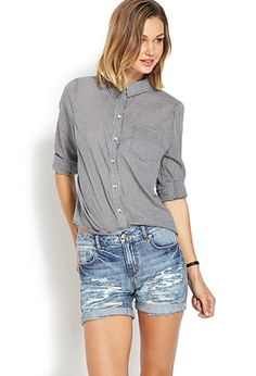 good length for everyday shorts. Denim Darling Ripped Shorts | FOREVER 21 - 2000125540
