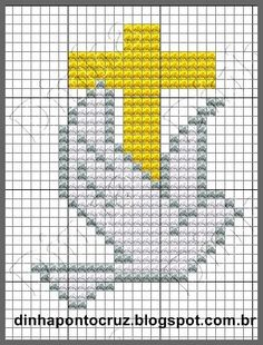 Christian Cross with Dove Cross Stitch Pattern Religious Cross Stitch Patterns, Cross Patterns, Beading Patterns, Cross Stitch Bookmarks, Mini Cross Stitch, Cross Stitching, Cross Stitch Embroidery, Faith Crafts, Première Communion