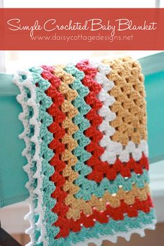Simple Crochet Baby Blanket. Granny square with picot edging. #grannysquare #crochetblanket #babyblanket
