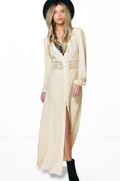 Boutique Kia Lace Waist Sleeve Button Maxi Dress