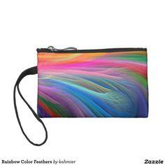 Rainbow Color Feathers Change Purses