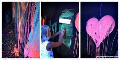 Glowing Chalk Paint - easy to make with just 3 ingredients!! Perfect for a glow party! And it's washable!