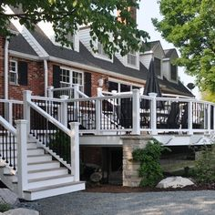 Get professional tips for selecting the best railing for your deck. Compare popular types of deck railing, including wood rails, cable rails and more. Porch Banister, Front Porch Railings, Front Deck, Deck Railings, Metal Railings, Front Yards, Iron Spindles, Vinyl Railing, White Deck