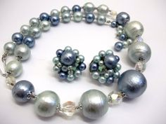 Vintage Blue Foiled Bead Crystal Necklace And Clip by donDiLights, $20.00