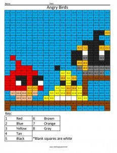 Angry Birds Multiplication and Division worksheets