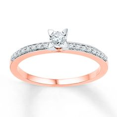 $399  Diamond Promise Ring 1/6 ct tw Round-cut 10K Rose Gold kind of in love with this.....