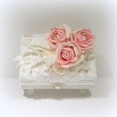 Shabby Chic Jewelry Box, Shabby Chic Decor, White Jewelry Box, Trinket Box…