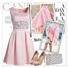 """""""Pink Boat Neck Sleeveless Beading Dress 9."""" by allanaaa11 ❤ liked on Polyvore featuring women's clothing, women, female, woman, misses and juniors"""
