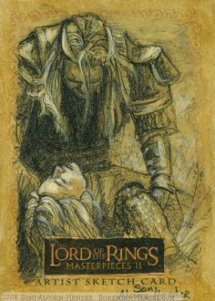Éomer finds his sister on the battlefield. Topps LotR M2 sketch card by Soni Alcorn-Hender