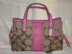 COACH Signature Stripe Carryall Khaki & pink LG Shoulder Bag #F21949 Patent EEC