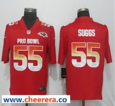 bf487180b42 Nike AFC Ravens 55 Terrell Suggs Red 2019 Pro Bowl Limited Jersey