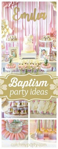 Take a look at this gorgeous pink baptism celebration. The decorated cookies are so pretty!! See more party ideas and share yours at CatchMyParty.com