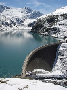 Mooserboden Reservoir is a hydroelectric plant in the Austrian Alps that uses water from two reservoirs held back by huge dam walls.