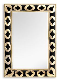 Diy inspiration for plain silver mirror. Love the way you can update a plain silver mirror with black paint.