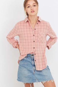 BDG Girlfriend Pink Flannel Shirt - Urban Outfitters