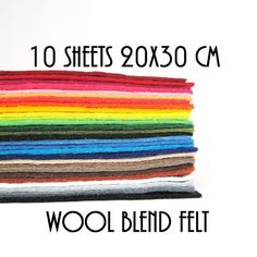 10 sheets of 20x30cm 8x12 approx. wool blend by UnBonDiaFieltro