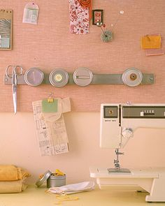 use magnetic knife rack  for holding small metal items...like this idea