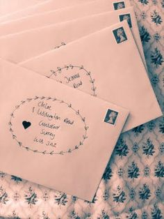 I sent out my our wedding invitations this week, I decorated pink envelopes with a hand-drawn wreath and heart shaped sticker! Posted by Selina Lake Stylist on Tagged: , Wedding… Mail Art Envelopes, Addressing Envelopes, Pink Envelopes, Envelope Art, Envelope Design, Envelope Printing, Calligraphy Envelope, Calligraphy Fonts, Script Fonts