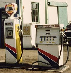 Fina petrol pumps at a petrol station in the Scottish Highlands
