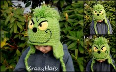 Crochet Grinch hat.Made to Order from 6 month to by KrazyHats1