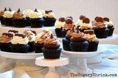 Chocolate cupcakes. Buttercream. Candy.