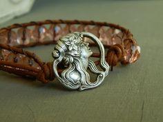 Rose colored czech glass leather wrap bracelet by ShabbyChicGlam