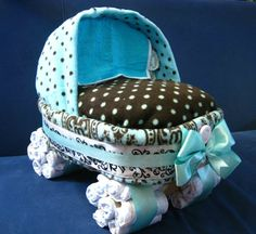 Large Awesome And Unique Baby Bassinet Stroller Diaper Cake