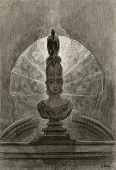 O Corvo - obra de Edgar Allan Poe. 18_Empoleirado sobre um busto de Pallas