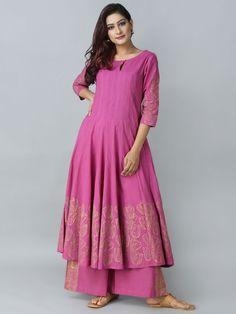 Pink Cotton Hand Block Printed Anrakali Kurta