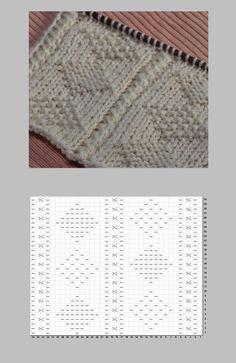 2種のダイヤ柄のガンジー模様の編み図と編み上がり作品