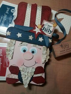 Uncle Sam Stampin Up punch art  Don't know when I would need this, but too cute NOT to pin.  Leprechaun?
