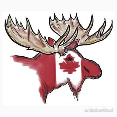'Artistic Canadian flag moose head' T-Shirt by artisticattitud Moose Deer, Moose Art, Deer Head Outline, Canadian Symbols, Flag Painting, Rock Painting, Canadian Tattoo, Calming Pictures, Canadian Things