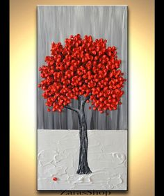 Original Modern Art 10x20 Textured Artwork Red Tree by ZarasShop