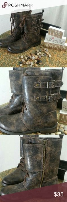 """NWT Massini Distressed Leather Moto Boot Massini Brooke with Distressed Finish. This awesome boot has a side zip, laces,  and a wide buckle strap.  1 inch heel, 9.5""""tall Size 6M These are new with tag and in box.  Make an offer Massini Shoes Combat & Moto Boots"""