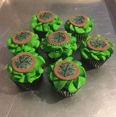 Camo cupcakes with a Real Tree camo sugar topper