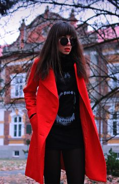red woolen coat: https://jointyicroissanty.blogspot.com/2016/12/red-woolen-coat.html  #streetstyle #ootd #moda #fashion