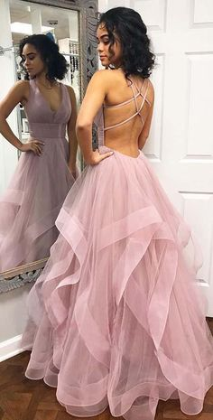 Dress with straps Ruffled skirt dusty rose prom dress with straps on the back.Prom Dresses Ruffled skirt dusty rose prom dress with straps on the back. Straps Prom Dresses, Backless Prom Dresses, Women's Dresses, Dance Dresses, Ball Dresses, Mermaid Dresses, Dresses Elegant, Pretty Prom Dresses, Prom Party Dresses
