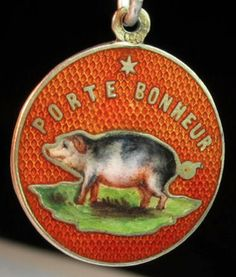 French good luck enameled piggy charm ~ From the estate of Joan Munkacsi
